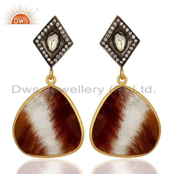 Wholesale Rutile Gemstone Gold Plated 925 Sterling Silver Cz Earrings