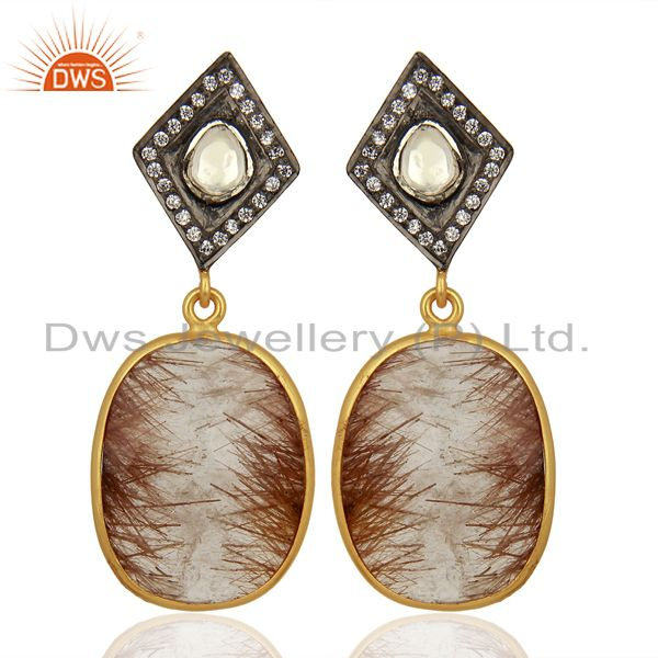New Arrival Gold Plated Silver Rutile Gemstone CZ Earrings Jewelry