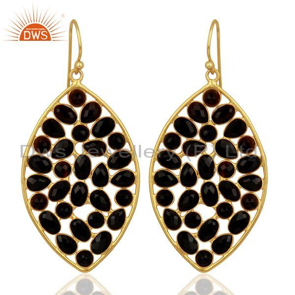 BlackOnyx Marquise Shape Handcrafted Gold Plated Sterling Silver Earring