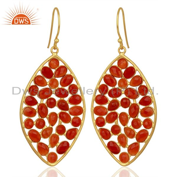 Red Onyx Marquise Shape Handcrafted Gold Plated Sterling Silver Fashion Earring
