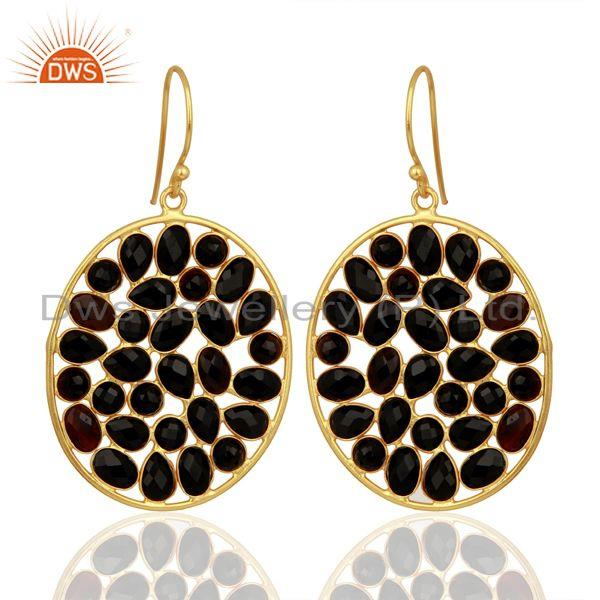 Black Onyx Handcrafted Dangle Gold Plated 92.5 Sterling Silver Designer Earring