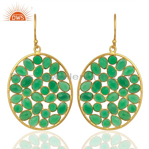 Green Onyx Handcrafted Dangle Gold Plated 92.5 Sterling Silver Designer Earring