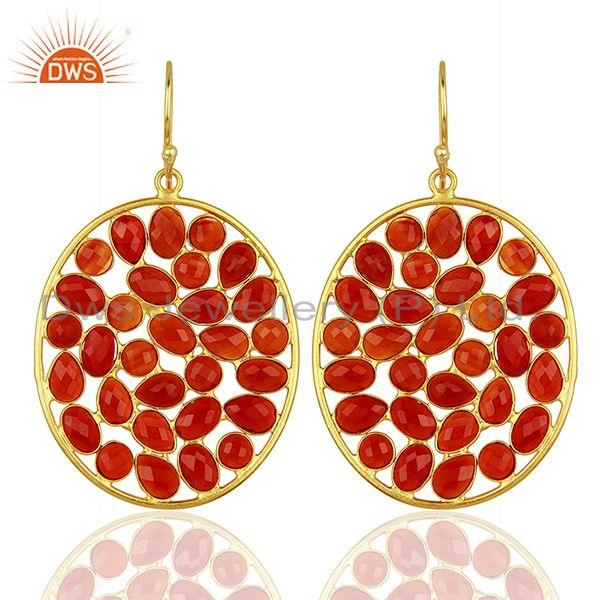 Red Onyx Handcrafted Dangle Gold Plated 92.5 Sterling Silver Designer Earring