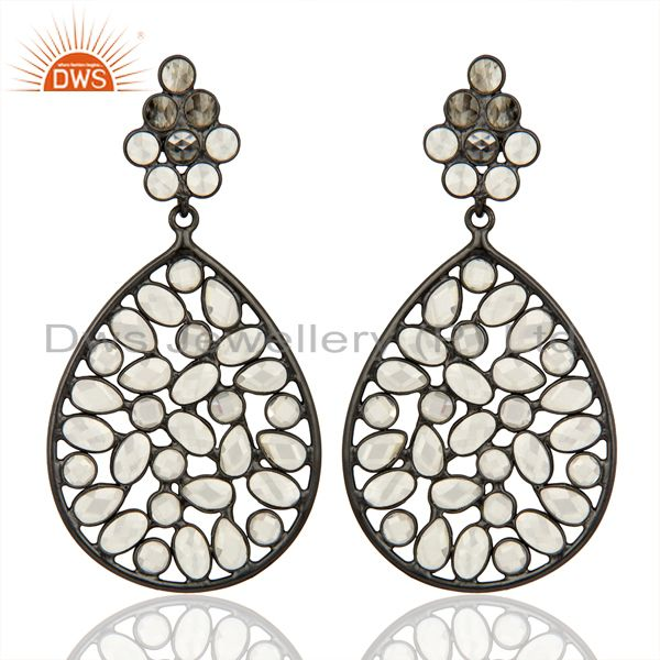 Black Rhodium Plated Silver CZ Gemstone Earrings Supplier Manufacturer