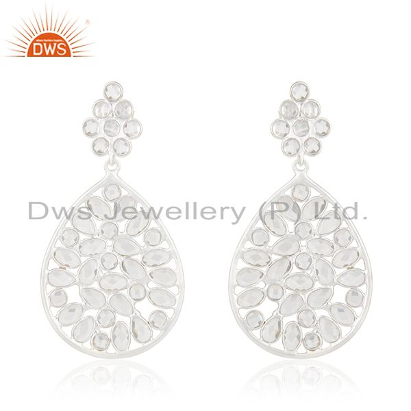 Handmade 92.5 Sterling Fine Silver White Zircon Dangle Earrings Manufacturer
