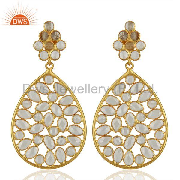 White Zircon Gemstone Gold Plated Silver Earring Supplier Manufacturer