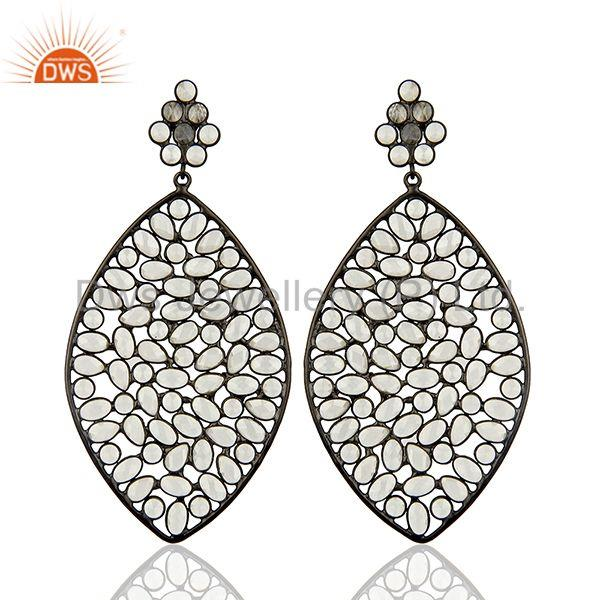 Rhodium Plated Silver CZ Gemstone Earrings Manufacturer Supplier