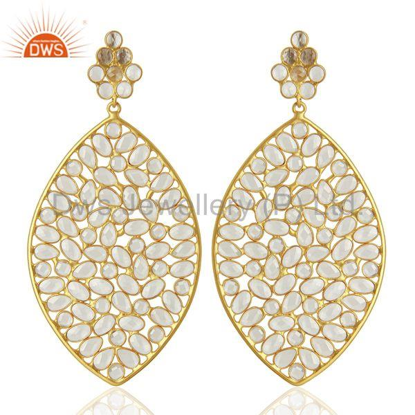 White Zirco Gemstone Sterling Silver Fshion Earring Jewelry Supplier