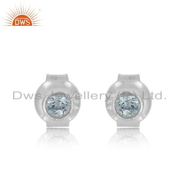Blue Topaz Gemstone Handmade 925 Fine Sterling Silver Stud Earrings