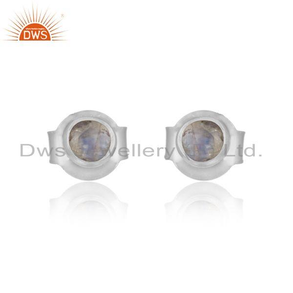 Basic Dainty Stud in Solid Silver with Rainbow Moonstone