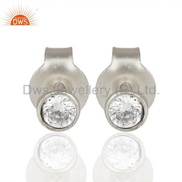Sterling Fine Silver Zircon Gemstone Womens Earrings Wholesale