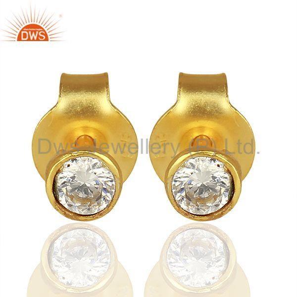 White Zircon Gemstone 925 Silver Girls Earrings Jewelry Supplier