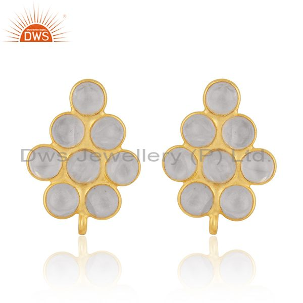 Rainbow Moonstone Gold Plated 925 Silver Findings Stud Earrings Manufacturer