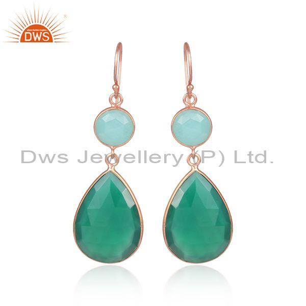 Green Onyx And Amazonite Set Fine Silver Tear Drop Earrings