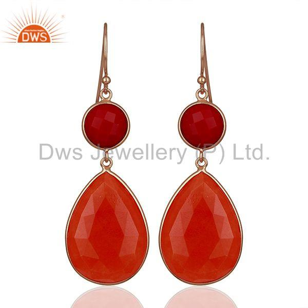 Red Gemstone Rose Gold Plated Dangle Earrings Jewelry Manufacturer