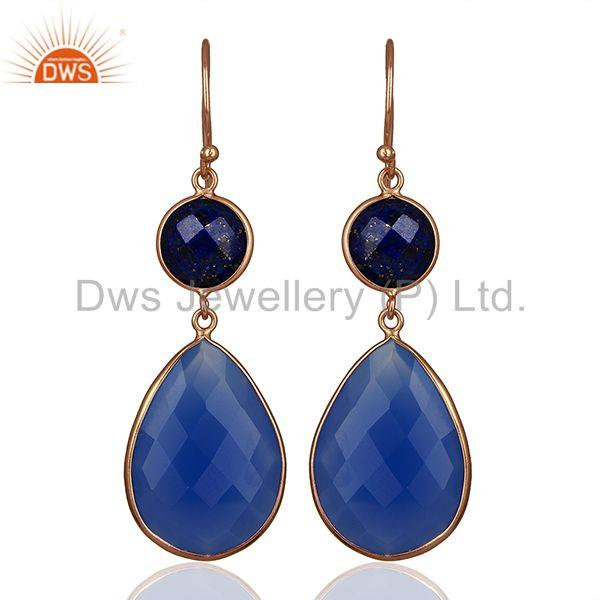 Rose Gold Plated 925 Silver Blue Gemstone Dangle Earrings Manufacturer