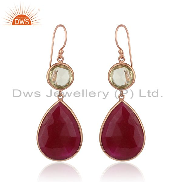 Dyed ruby lemon topaz rose gold plated silver dangle drop earring