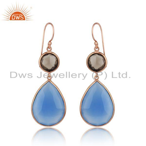 Smoky Quartz Blue Chalcedony Gemstone Rose Gold Plated Earrings