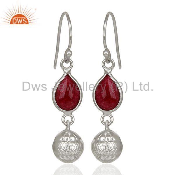 Filigree Design Round 925 Silver Gemstone Earrings Jewelry Supplier