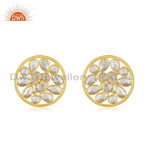 Floral Design 925 Silver Yellow Gold Plated Round Stud Earrings Manufacturer