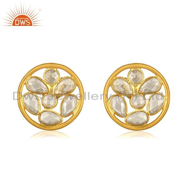 White Zircon Yellow Gold Plated 925 Sterilng Silver Stud Earrings wholesale