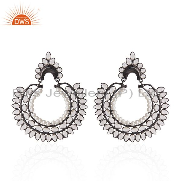 Black Rhodium Plated 925 Silver Zircon and Pearl Earrings for Womens