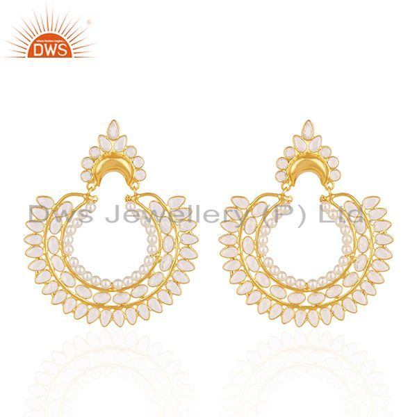 White Zircon and Pearl Gemstone Gold Plated 925 Silver Traditional Earrings