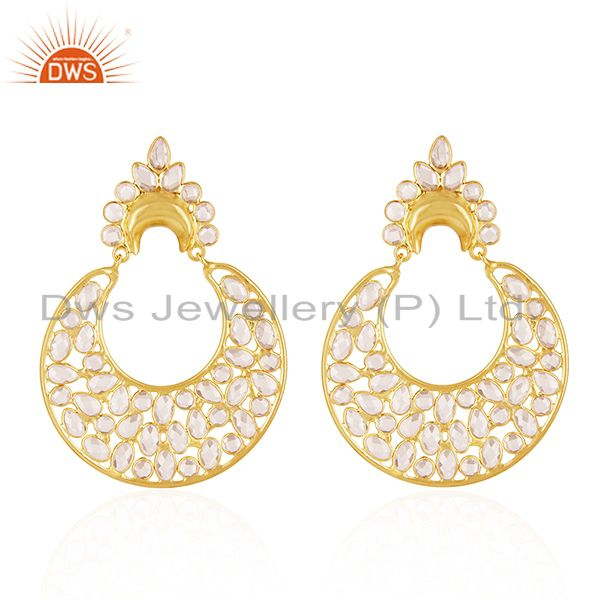 14k Gold Plated 925 Silver White Zircon Dangle Earrings Jewelry Manufacturer