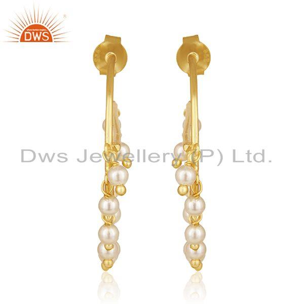 Gold Plated Sterling Silver Natural Pearl Gemstone Dangle Earrings Wholesale