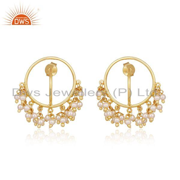 Natural Pearl Gold Plated 925 Silver Designer Earrings Manufacturer of Jewelry