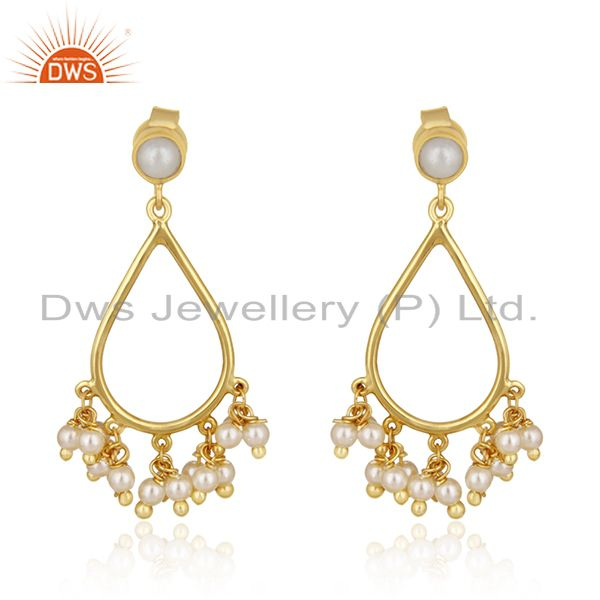 14k Gold Plated Sterling Silver Natural Pearl Traditional Earrings for Wedding