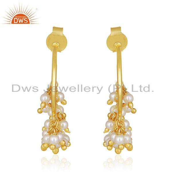 Natural Pearl Gold Plated 925 Silver Designer Dangle Earring Manufacturer Jaipur