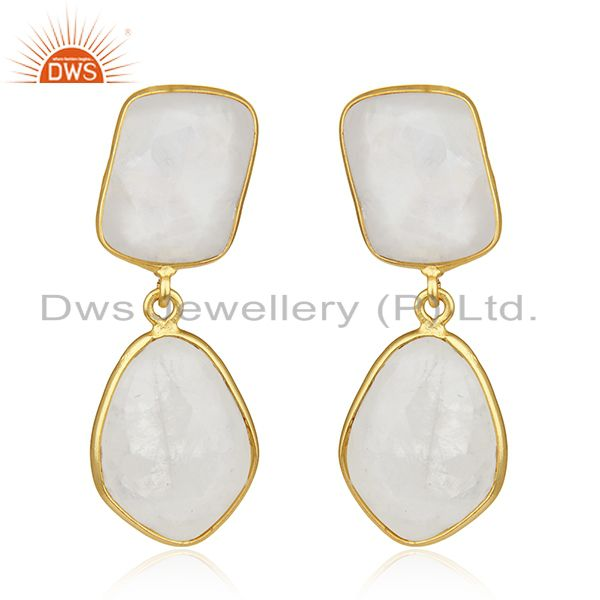 Rainbow Moonstone Gold Plated Brass Fashion Handmade Earrings Manufacturer India