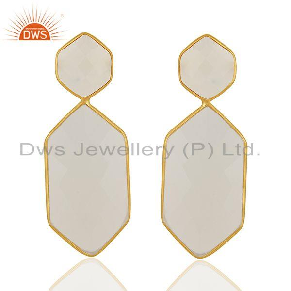 White Chalcedony Gemstone Gold Plated Sterling Silver Handmade Earrings Supplier