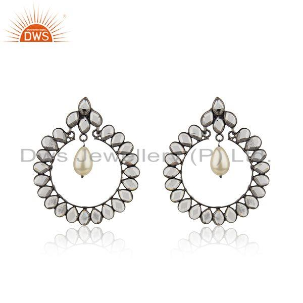 CZ Natural Pearl Gemstone Silver Earring Jewelry Supplier