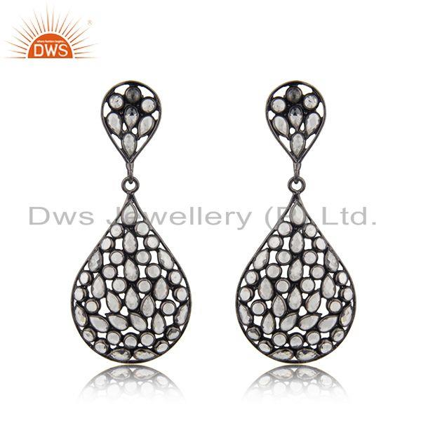 Rhodium Plated Silver CZ Beaded Drop Earring Jewelry