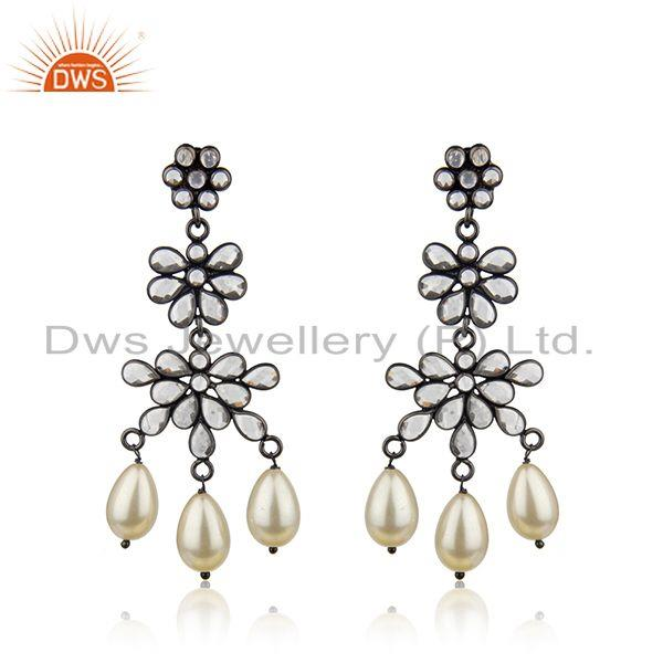 Natural Pearl and White Zircon Black 925 Silver Earring Wholesale Suppliers