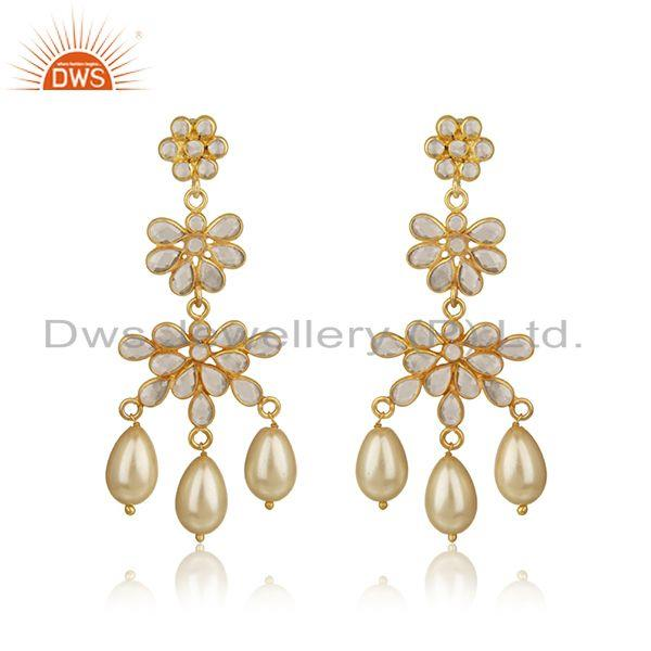 Zircon Natural Pearl Gemstone Silver Gold Plated Earrings Jewelry