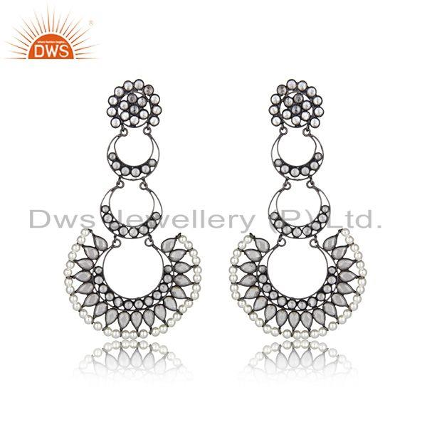 Indian Rhodium Plated Silver CZ Pearl Earring Jewelry