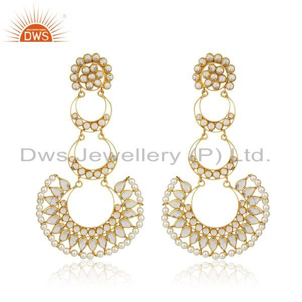 CZ Natural Pearl Gemstone Gold Plated Silver Dangle Earring Jewelry