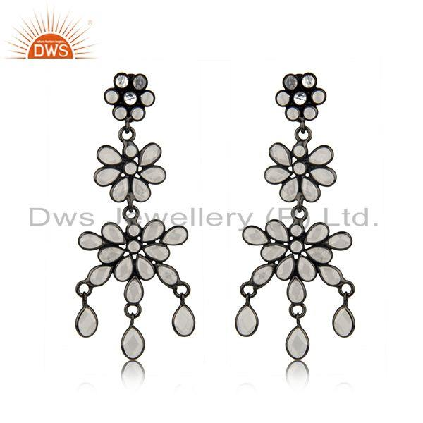Designer Rhodium Plated CZ Earrings Jewelry Manufacturer
