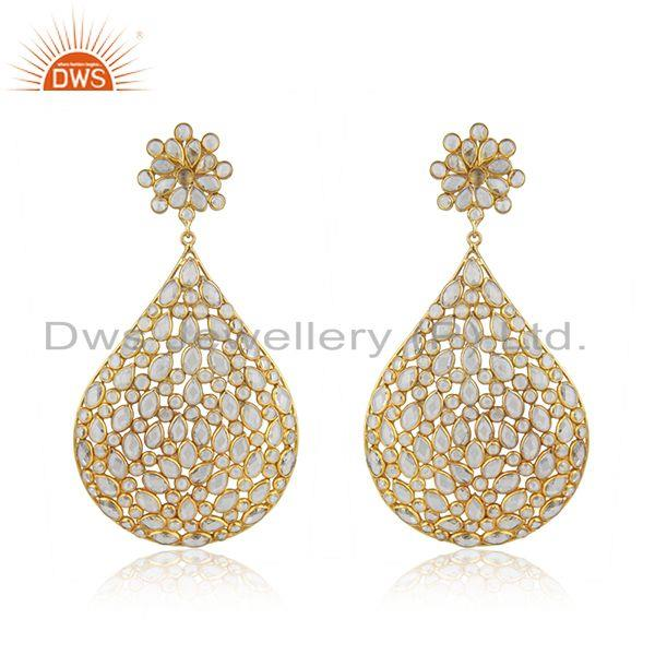 Gold Plated Silver Traditional CZ Beaded Earrings Jewelry