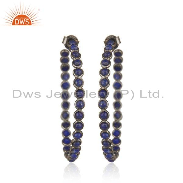 Black Rhodium Plated Silver Lapis Gemstone Hoop Earrings Jewelry