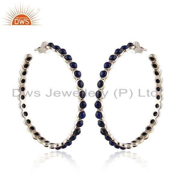 Lapis Lazuli Gemstone Antique Oxidized 925 Silver Hoop Earrings