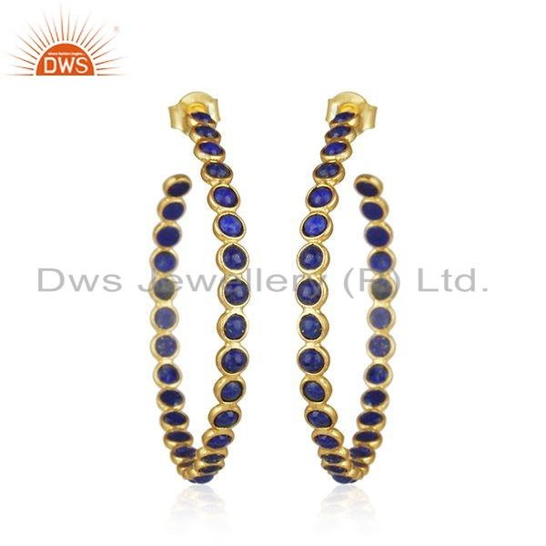 Natural Lapis Gemstone Yellow Gold Plated Silver Hoop Earrings Jewelry