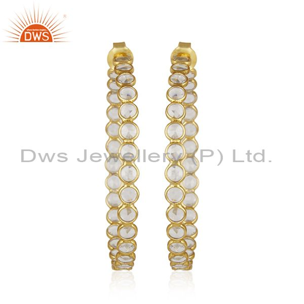 Designer Gold Plated Silver CZ Gemstone Designer Hoop Earrings Jewelry