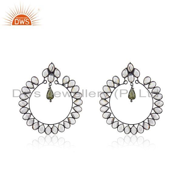 New Rhodium Plated Designer SIlver CZ Earrings Jewelry Supplier