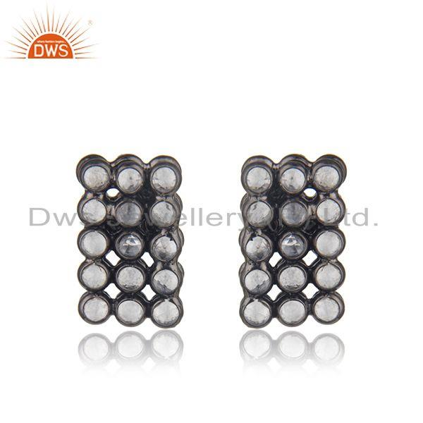 White Zircon Sterling Silver Black Stud Earrings Jewelry Manufacturer India