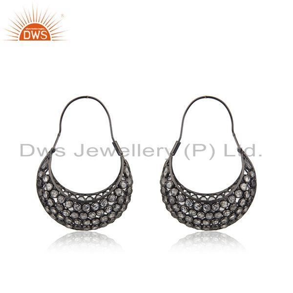 Black Rhodium Plated Silver Designer CZ Dangle Earrings Jewelry