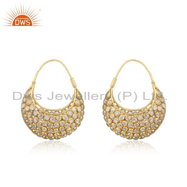 Yellow Gold Plated Silver CZ Beaded Gemstone Bali Earrings Jewelry